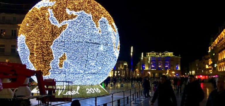 The earth globe and the Christmas market in Montpellier